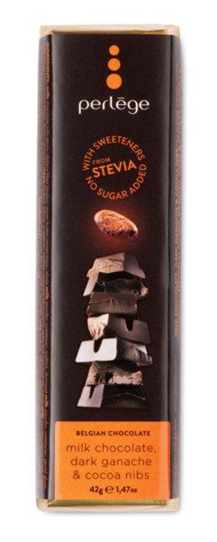 Perlége млечен шоколад с ганаш и какаови зърна без захар